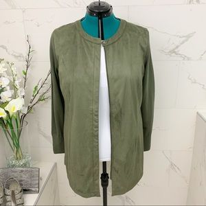 H by Halston Olive ultra suede jacket 16